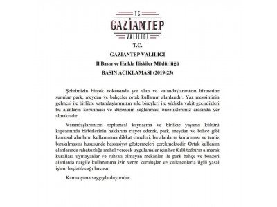 Gaziantep Valiliği  BASIN AÇIKLAMASI (2019-23)